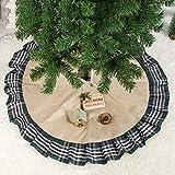 Faldas árbol De Navidad Falda Para Arbol De Navidad Rústico Vintage Plaid Yute Volante Verde y Marrón Faldas de árbol de 100 cm Naturales Decoraciones Navideñas (Caqui + Verde, 100 cm)