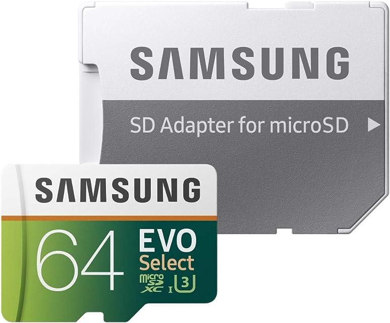 Samsung EVO Select - Tarjeta de Memoria microSDXC de 64 GB con Adaptador SD 100 MB/s U3 Color Verde y Blanco