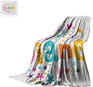 Luoiaax Diane Digital Printing Blanket Festive Arrangement of Letters Baby Girl Name with Geometric Shapes Circles Rhombuses Oversized Travel Throw Cover Blanket 60