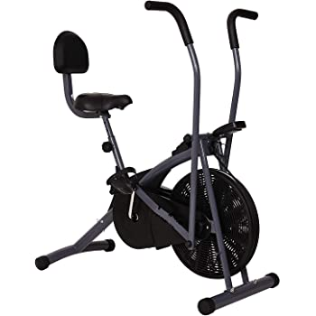 Healthex Unisex Exercise Cycle for Weight Loss at Home with Back Support, Air Bike Stamina with Moving Handle