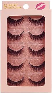 5 Pairs Mink 4D Full Volume Thick False Eyelashes Long Black Curly Lashes,Lightweight and Soft,Beautiful and Glamorous Nat...