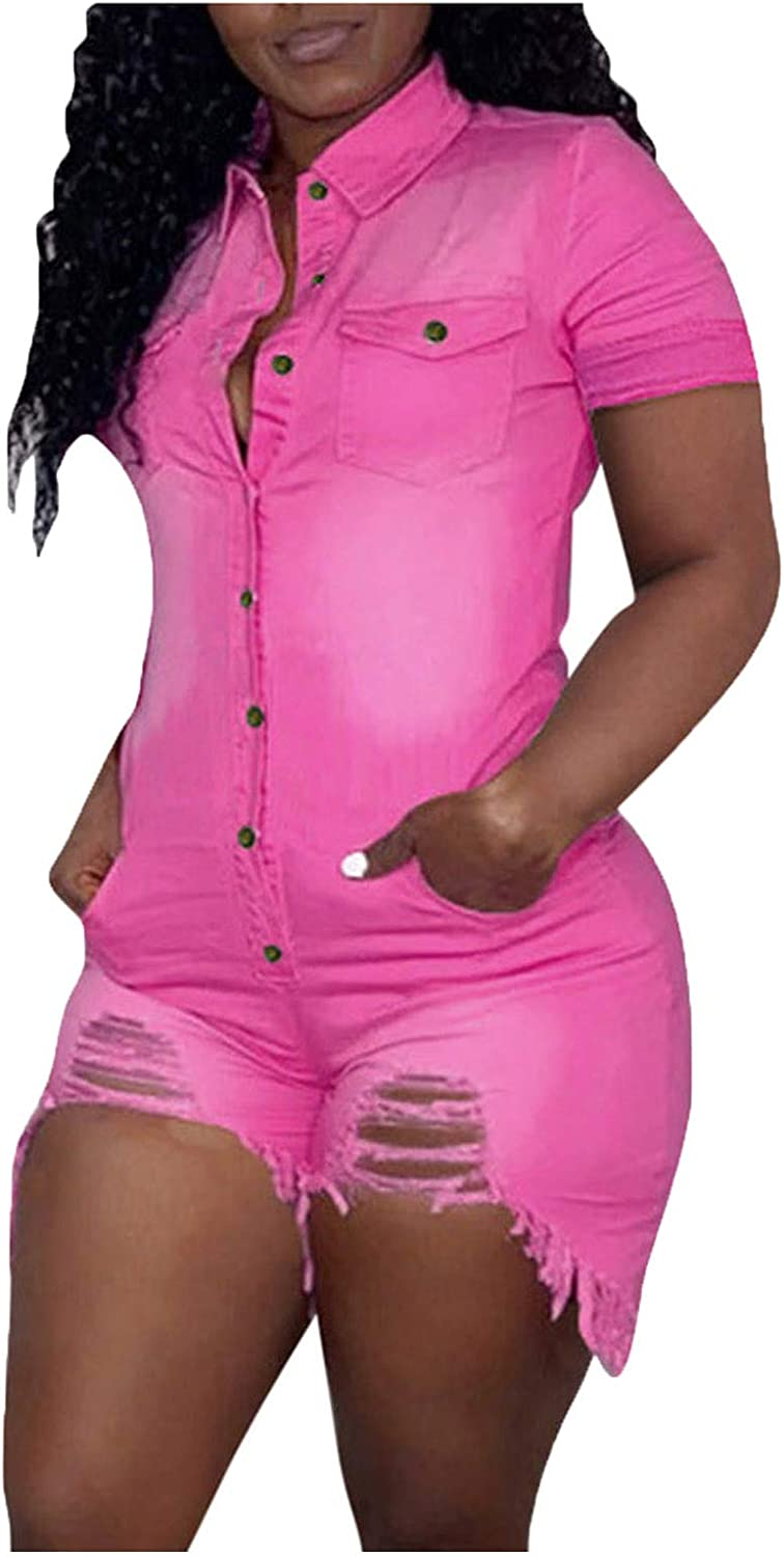 VEKDONE Women Short Sleeve Denim Jumpsuits Mini Shorts Button Down One Piece Stretchy Ripped Bodycon Rompers Clubwear