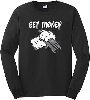 Men's Get Money Cartoon Glove Gun Gangster Long Sleeve T-Shirt