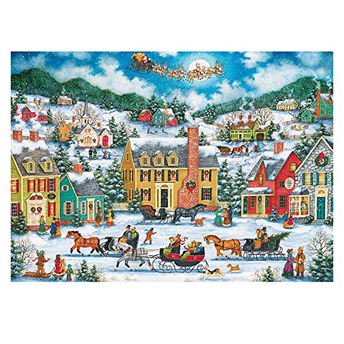 """Jigsaw Puzzles,1000 Piece Christmas Snow Scene Theme Jigsaw Puzzle 20"""" x 27"""" for Adults and Children's, Family Educational Interactive Game with Happy Holidays (B)"""
