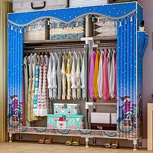 Armario de lona Organizador de almacenamiento de ropa Tubo redondo de 25 mm Gran capacidad de almacenamiento Cabezal de cortina doble con cremallera, Para dormitorio Sala de estar Ropa Zapat