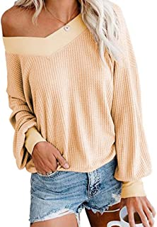 Annystore Women's Off Shoulder Sweater V Neck Long Sleeve Waffle Knit Jumper Oversized Pullover Sweater