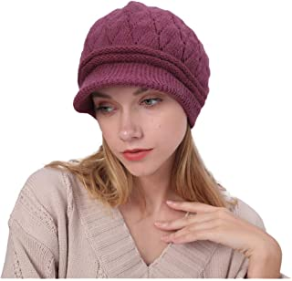 TOTOD Women Handmade Knit Cap Ladies Solid Color Casual Classic Hat Earmuffs Hats Daily Accessory