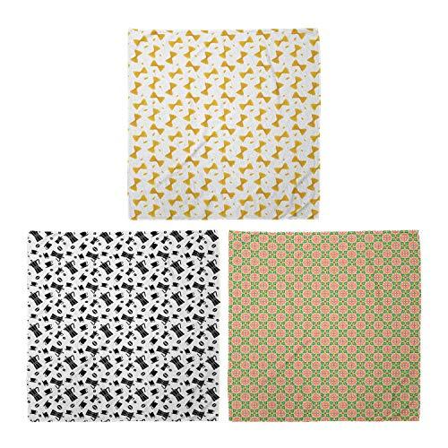 ABAKUHAUS Unisex Bandana, Farfalle Sketch Art Kaffeemaschinen Bohnen Cups Mittelmeer Keramikfliesen, 3er Pack, Mehrfarbig