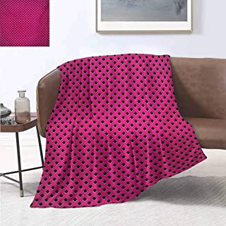 jecycleus Magenta Commercial Grade Printed Blanket Diamond Line Grill Cross Wire Design Logo Digital Motif Image Print Queen King W91 by L60 Inch Black Fuchsia