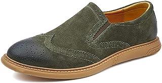 Classic Men Shoes Pu Suede Leather Shoes Light, Soft, Tough, (Color : Green, Size : 44)