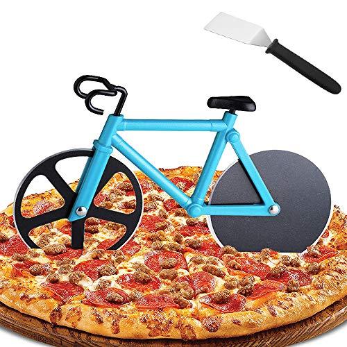 Heatigo Fahrrad Pizzaschneider Kochspatel Set, Pizzaschneider aus Antihaftbeschichtetem Edelstahl Robuster Küchenhelfer mit scharfem Schneiderad, Geeignet für Party usw