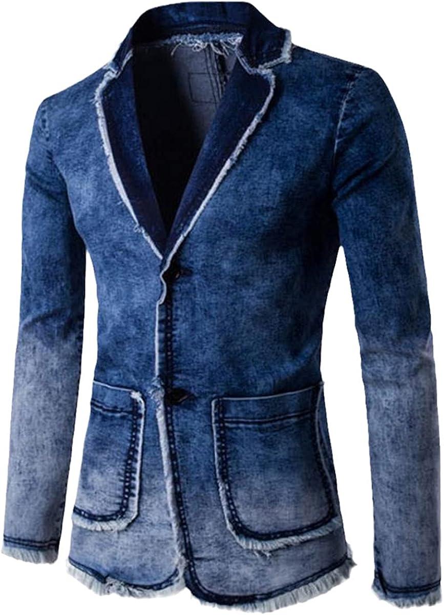 Men's Casual Denim Jackets Men's Blazer Slim-Fit Suits Fashion Blazer Trendy Gradient Jackets