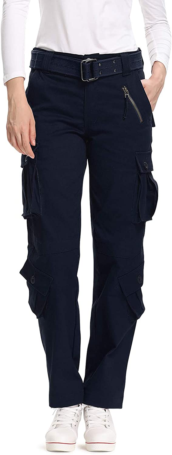 safety OCHENTA Women's Casual Military Cargo Work Pants Max 54% OFF 8 Comb Pockets