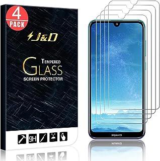 J&D kompatibel med 4-pack Huawei Y7 2019/Y7 Pro 2019/Y7 Prime 2019 glasskärmskydd, [härdat glas] [Inte full täckning] Ball...