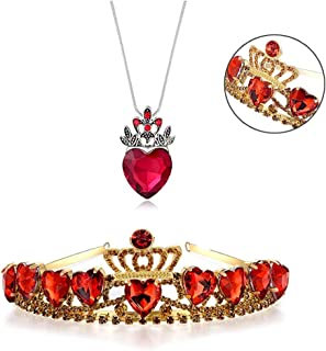 kunqi trade Red Crown, Christmas Halloween Thanksgiving Kids Red Heart Tiara and Necklace Descendants Red Heart Crown Jewelry Set Queen of Hearts Costume Fan Jewelry Her (Red)