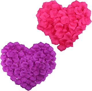 COSMOS 1000 Pcs Artificial Flower Rose Petals Wedding Party Decoration Confetti, Hot Pink and Purple