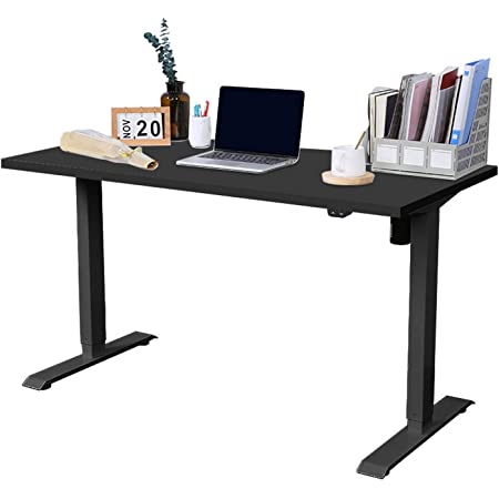 Devaise Height Adjustable Standing Desk With Crank 140cm Sit To Stand Desk Workstation For Home Office Black Amazon Co Uk Kitchen Home
