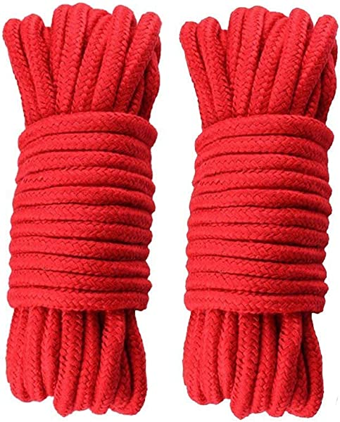 Soft Rope Cord 2Pcs 10 M 33 Feet 8 MM All Purpose Cotton Rope Craft Rope Thick Cotton Twisted Cord Red