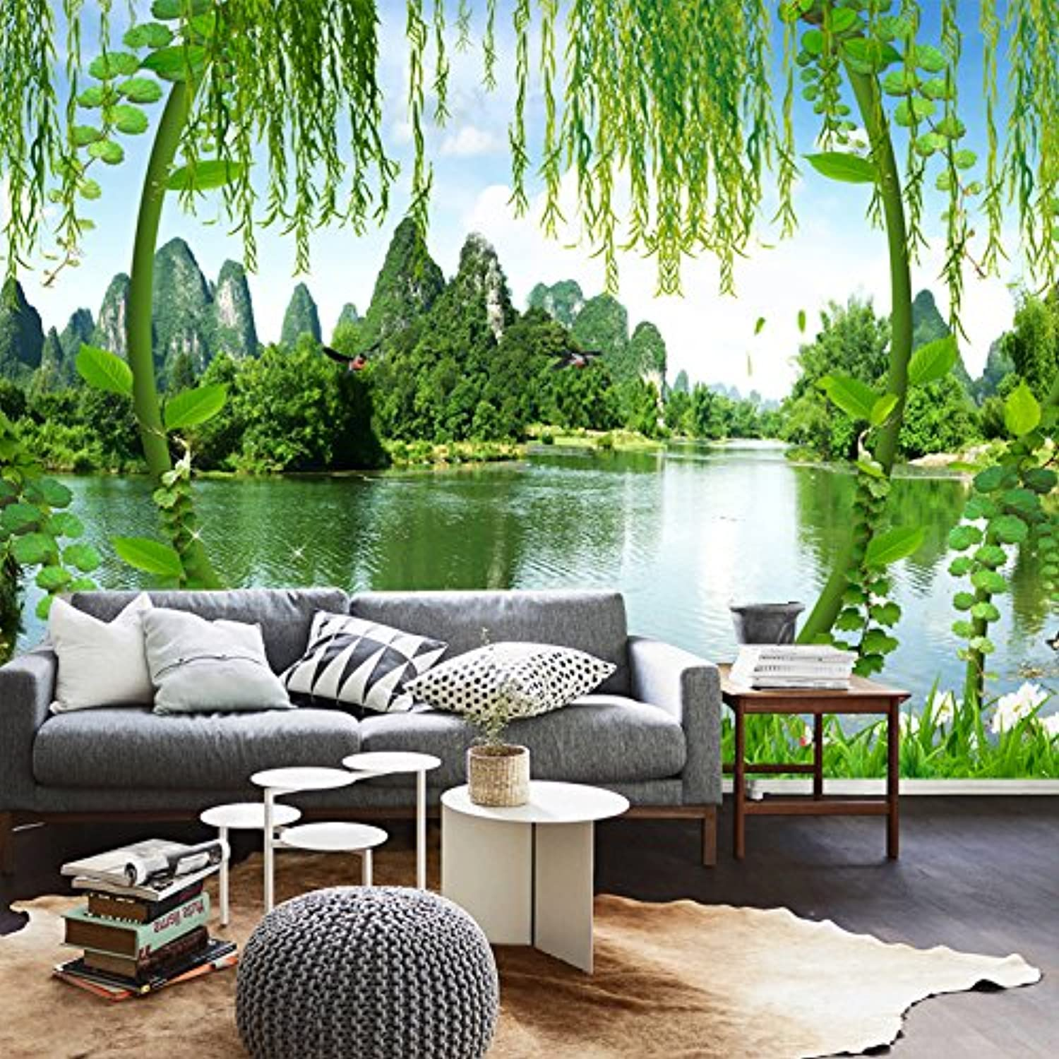 Sykdybz 3D silk cloth wallpaper 5D large mural landscape scenery TV wallpaper living room sofa bedroom background wall paper non woven wall covering 200x100cm