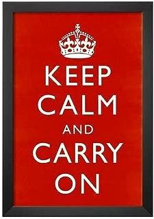 Buyartforless IF KCCO RED 18x12 1.25 Black Plexi Framed Keep Calm & Carry On (Motivational, Red) 18X12 Art Poster Print Wall Decor - World War 2 British Slogan
