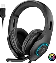 $49 » EasySMX Gaming Headset for PC, Headset with Mic, [7.1 Surround Sound], [Noise Reduction Mic], On-Earcup Control, RGB LED Lights, Professional PC Gaming Headset, Gaming Headphones for PS4, PS3, Laptop