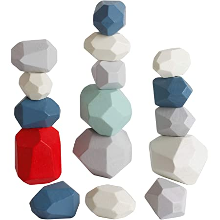Lewo 16 PCS Building Blocks Wooden Balancing Blocks Colored Stacking Stones Rock Blocks Wooden Stones Balance Blocks Montessori Toys Educational Toy for Toddlers Kids Boys Girls