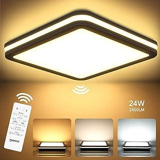 Plafonnier LED avec Détecteur de Mouvement, Lampe Plafond LED avec Télécommande, 24W 2400LM, IP54, 2700K-6500K, Elairage I...