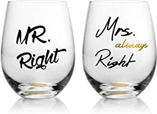 Funny Wedding Gifts -Mr Right & Mrs Always Right Wine Glasses Set of 2, Engagement Gifts or Wedding Shower Couples