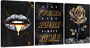 """Motivational Hustle Wall Art Inspirational Flower Canvas Poster Prints Vintage Black Lip Paintings Focused Entrepreneur Positive Quotes Office Wall Decor for Office Living Room Bedroom (36""""Wx16""""H)"""