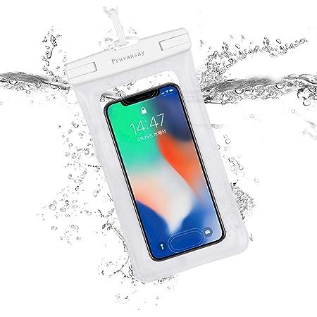 防水ケース【最新版 & 指紋認証/Face ID認証対応】 スマホ用 IPX8認定 完全保護 防水携帯ケース 完全防水 タッチ可 顔認証 気密性抜群 iPhone 12 Pro XS MAX XR X 8 7 6s 6 Plus SE 5s Samsung galaxy S10 S9 Huawei P40 P30 Mate30 Proに対応 7インチ以下全機種対応 防水カバー 水中撮影 お風呂 海水浴 水泳など適用 透明 (ホワイト)