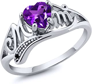925 Sterling Silver Heart Shape Mothers Day Purple Amethyst and Black Diamond Mom MOM Women Ring (Available 5,6,7,8,9)