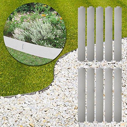 MCTECH® 10 x Rasenkante Metall verzinkt Beetumrandung Beeteinfassung Mähkante, 14cm hoch, 100cm lang (10m)
