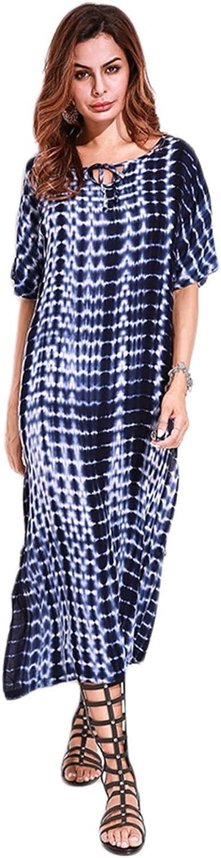 Celmia Women Boho Loose Fit Short Sleeve Maxi Dress Retro V Neck High Slit Summer Tie Dye Dresses