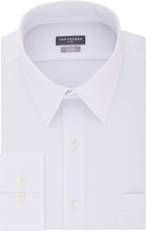 Men/'s Van Heusen Slim-Fit Flex collar Stretch  Dress shirt Size 16.5 34//35
