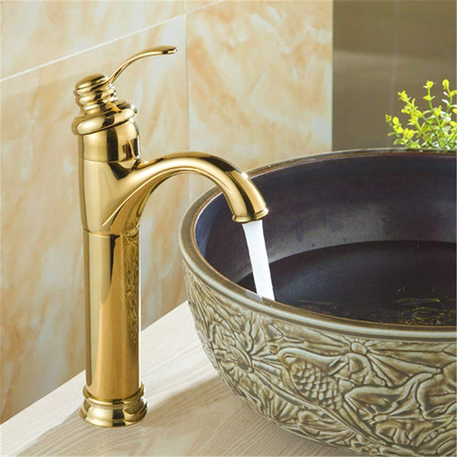 YAWEDA Bathroom Basin Faucet Brass Basin Mixer Tap golden Polished Faucets Single Handle with Aerator Hot and Cold Water Mixer,golden Polish