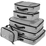 Savisto Packing Cubes, 6-teiliges Packtaschen Set für Urlaub, Reisen, Flugreisen - Ordnungssystem für Koffer, Handgepäck, Trolley, Reisetasche und Rucksack - Packwürfel S/M/L/XL (6 Pack) - Grau