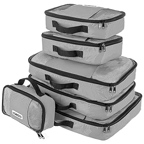 Savisto Packing Cubes - Small, Medium, Large, XL (6-Piece Set) - Grey
