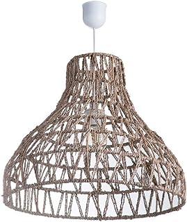 Lussiol 250293 - Lámpara de techo (mimbre, 60 W, 49 x 42 cm), color blanco