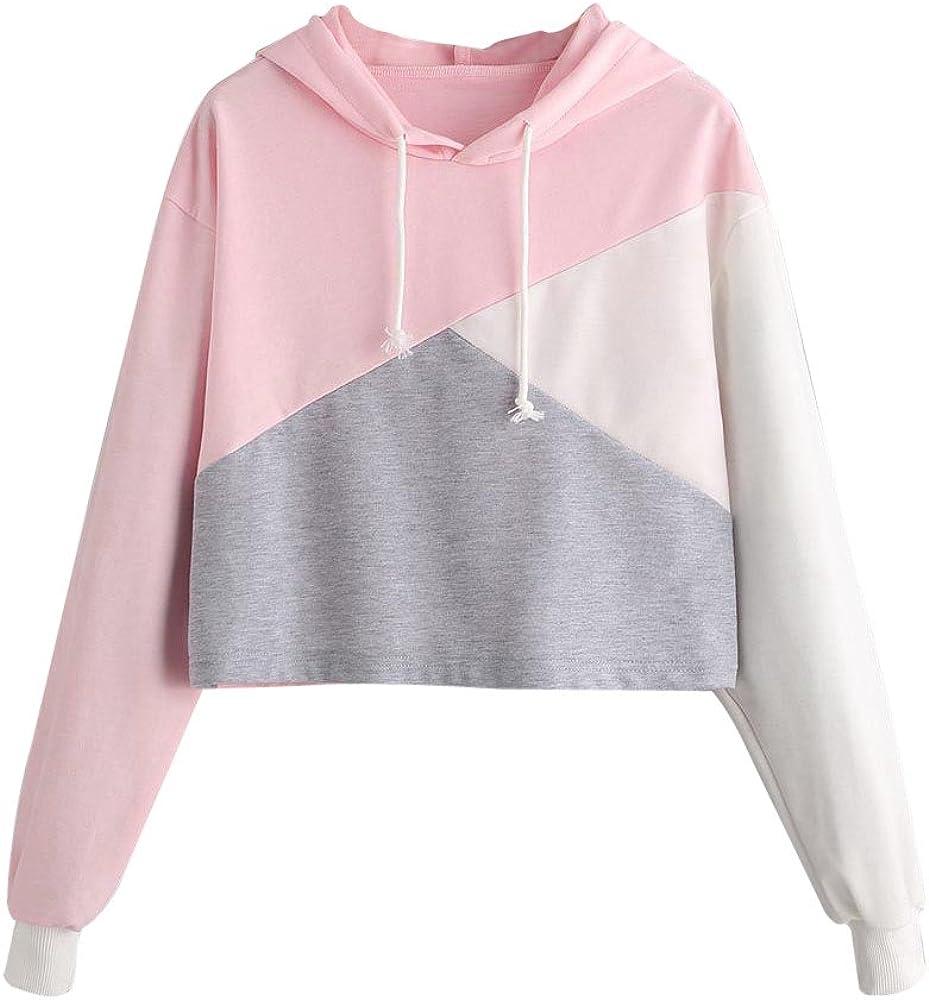 Eduavar Womens Hoodies,Women Teen Girls Fashion Color Block Long Sleeve Crop Top Hoodie Sweatshirts Casual Pullover Tops