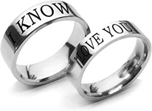 Beydodo Anillo Acero Inoxidable Parejas Anillos Set Grabado I Love You I Know 6/8MM Plata Talla 12-27