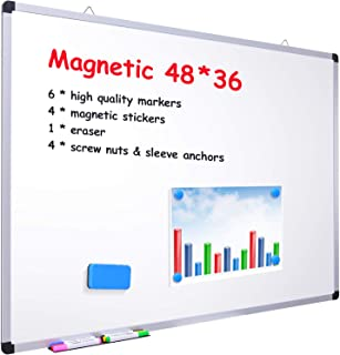 "48"" x 36"" Dry Erase Board, Ohuhu Magnetic Large Whiteboard/White Board with 6 Color Dry Erase Markers, 4 x Magnetic Sticke..."