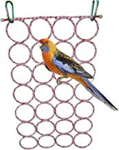Keersi Cotton Rope Ladder Hammock Toy for Bird Parrot Parakeet Cockatiel Conure Cockatoo African Grey Macaw Eclectus Amazon Lovebird Finch Canary Budgie Cage Perch Stand Swing Hamster Rat Tunnel