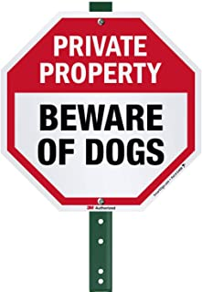 SmartSign Private Property Beware of Dogs Sign with Stake 3' Tall, for Yard/Lawn | 10 Inches Octagon 3M Reflective Aluminum Metal Sign