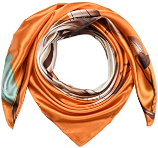 35 بوصة مربع المرأة الحرير يشعر الأوشحة وشاح الرأس للنوم البرتقالي الداكن لوتس