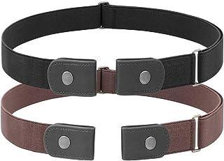 2 Pack No Buckle Free Elastic Belt for Women Men, Comfortable Adjustable Invisible Stretch Waist Belt for Jeans Shorts Pants