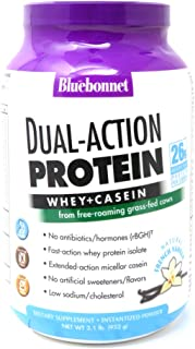 Bluebonnet Nutrition Dual-Action Protein Powder, Whey from Grass Fed Cows, 26 Grams of Protein, No Sugar Added, Non GMO, Gluten Free, Soy Free, Kosher Dairy, 2.1 lbs, 28 Serving, French Vanilla Flavor