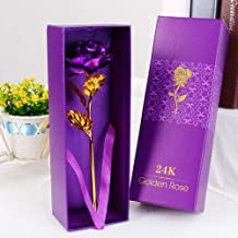 ShopAIS 24K Purple Rose with Gift Box and Carry Bag - Best Gift On Valentine's Day, Rose Day. Purple Dipped Rose with Gift Box