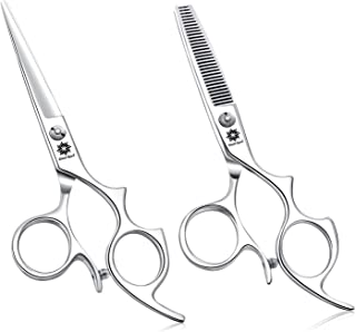5.5 inch Hair Shears Set with Large Finger Holes, Professional Barber Thinning Shears and Hair Cutting Scissor Kit Beard T...
