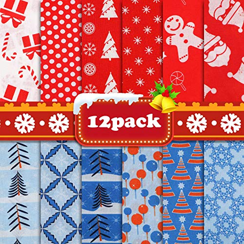 Christmas Fat Quarters Fabric Bundles 19.68'x19.68',12 Pack DIY Craft Cotton Quilting Fabric for Sewing Sewing Patchwork Gift Wrapper