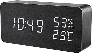 目覚まし時計 大音量 デジタル 木製 置き時計 温度湿度計 木目調デジタル 置き時計 大きなLED数字表示 アラーム 多機能 カレンダー付き 省エネ 音声感知 USB給電/電池 ナチュラル風 (黒・白字)